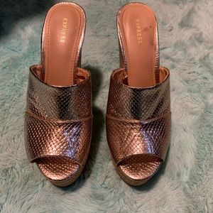 Express rose gold wedges size 8